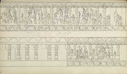 Narrative sculpture on the north side of the Amritesvara Temple at Amritpur, 1805. Third panel of the Krishna Lila frieze